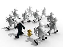 Hombre de negocios en manera diferente al éxito con la trayectoria de recortes Imágenes de archivo libres de regalías
