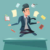 Hombre de negocios en nirvana en el trabajo de oficina Hombre meditating ilustración del vector