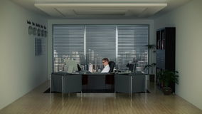 Hombre de negocios en oficina con horizonte almacen de metraje de vídeo