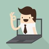 Hombre de negocios en pantalla del ordenador portátil libre illustration