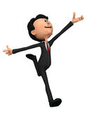 Hombre de negocios en salto feliz Imagen de archivo libre de regalías