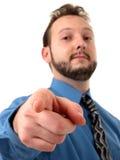 Hombre de negocios en señalar azul Imágenes de archivo libres de regalías
