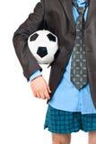 Hombre de negocios en su ropa interior con el balón de fútbol Imagen de archivo