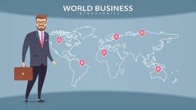 Hombre de negocios en traje en el fondo del mapa del mundo Fotografía de archivo libre de regalías