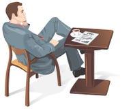 Hombre de negocios en un café, vector Foto de archivo libre de regalías