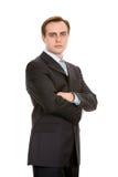 Hombre de negocios en un juego. Aislado en blanco. Fotografía de archivo