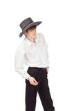 Hombre de negocios en un sombrero en un fondo del aislante Foto de archivo