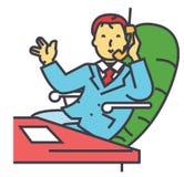 Hombre de negocios en un traje que habla en el teléfono en la oficina, concepto del carácter del CEO del negocio Ilustración del Vector