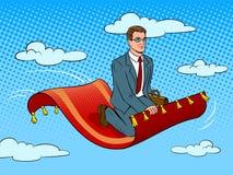 Hombre de negocios en vector mágico del arte pop de la alfombra Imagen de archivo libre de regalías