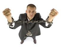 Hombre de negocios encadenado Fotos de archivo libres de regalías