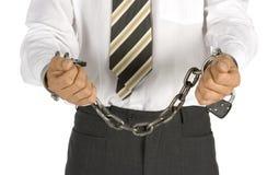 Hombre de negocios encadenado Imagen de archivo libre de regalías