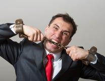 Hombre de negocios encadenado Imagen de archivo