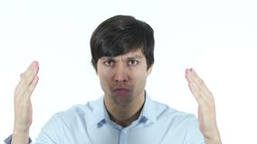 , hombre de negocios enojado Gestur, jóvenes, almacen de metraje de vídeo