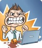 Hombre de negocios enojado Pouring Cup del café en el ordenador portátil ilustración del vector
