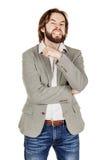 Hombre de negocios enojado que gesticula un movimiento del corte en la garganta, que co Foto de archivo