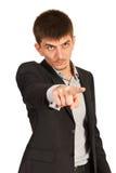 Hombre de negocios enojado que le señala Imagen de archivo libre de regalías