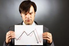 Hombre de negocios enojado que muestra un gráfico que cae del mercado de acción Foto de archivo