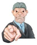 Hombre de negocios enojado que señala su dedo Imagen de archivo libre de regalías