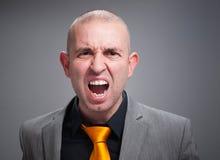 Hombre de negocios enojado y grito Imagen de archivo
