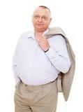 Hombre de negocios envejecido con la capa Imagen de archivo libre de regalías