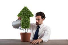 Hombre de negocios ese riego de una planta con una forma de la flecha Concepto de crecimiento de la economía de la compañía imagenes de archivo