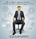Hombre de negocios Executive Sitting Chair sobre gris Fotografía de archivo