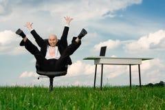 Hombre de negocios extático Foto de archivo libre de regalías