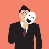 Hombre de negocios falso que lleva a cabo una máscara de la sonrisa Imagen de archivo libre de regalías