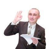 Hombre de negocios feliz con los documentos Imágenes de archivo libres de regalías