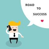 Hombre de negocios feliz que habla por el camino de la comunicación del teléfono con el concepto del éxito empresarial Imagen de archivo