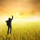 Hombre de negocios feliz que salta en campo y puesta del sol amarillos del arroz en éxito Foto de archivo libre de regalías