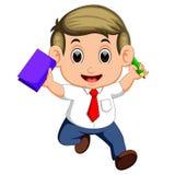 Hombre de negocios feliz que salta en el aire alegre stock de ilustración