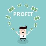 Hombre de negocios feliz rodeado por la historieta linda del dinero Imagen de archivo