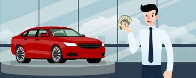 Hombre de negocios feliz, soporte del vendedor y dinero el sostenerse delante del coche de lujo ese estacionamiento en la sala de Fotografía de archivo libre de regalías