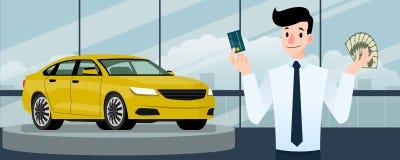Hombre de negocios feliz, soporte del vendedor y sostener una tarjeta de crédito y un dinero delante del coche de lujo ese estaci Fotografía de archivo libre de regalías
