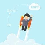 Hombre de negocios Flying On Rocket To Success Imágenes de archivo libres de regalías