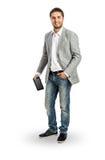 Hombre de negocios fresco con la tableta en su mano Imagenes de archivo