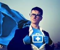 Hombre de negocios fuerte Aid Kit Concepts del super héroe Foto de archivo libre de regalías