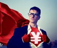 Hombre de negocios fuerte Currency Sign Concepts del super héroe Foto de archivo