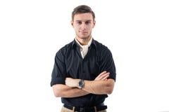 Hombre de negocios fuerte joven en camisa negra con Imagenes de archivo