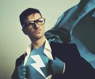Hombre de negocios fuerte Lightning Bolt Concept del super héroe Foto de archivo