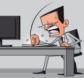 Hombre de negocios furioso que golpea el teclado de ordenador ilustración del vector