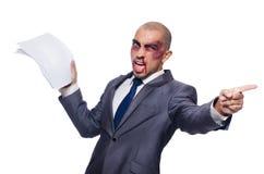 Hombre de negocios gravemente batido aislado Fotografía de archivo libre de regalías