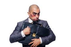 Hombre de negocios gravemente batido aislado Fotos de archivo libres de regalías