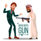 Hombre de negocios With Gun Vector Triste, desesperado Espía, criminal Ejemplo plano aislado ilustración del vector