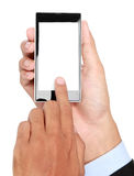 Hombre de negocios Hand que sostiene el teléfono elegante móvil con la pantalla en blanco Fotografía de archivo