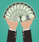 Hombre de negocios Hands Giving Money ilustración del vector
