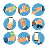 Hombre de negocios Hands Set Vector Vendedor, trabajador Actividad bancaria de concepto de la venta de las finanzas Bandera human Fotos de archivo libres de regalías