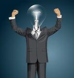 Hombre de negocios With Hands Up de la cabeza de la lámpara del vector Ilustración del Vector