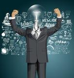 Hombre de negocios With Hands Up de la cabeza de la lámpara del vector Stock de ilustración